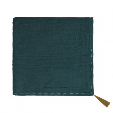 Grand lange en coton bio - Nana swaddle Bleu canard