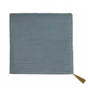 Grand lange en coton bio - Nana swaddle Bleu gris