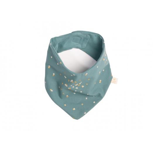Bavoir bandana Lucky - Gold confetti / Magic green