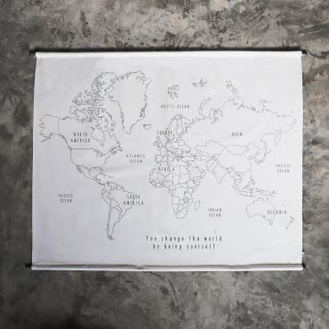 Poster à broder School - World map