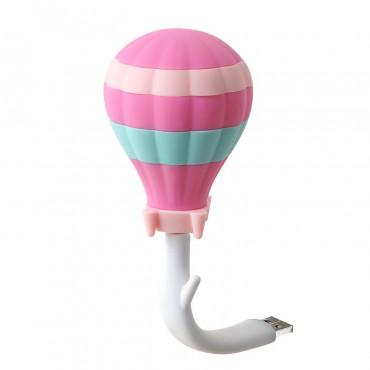 Veilleuse LED pour prise USB - Montgolfière rose