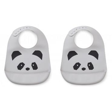 Bavoir en silicone x 2 Tilda - Panda dumbo grey