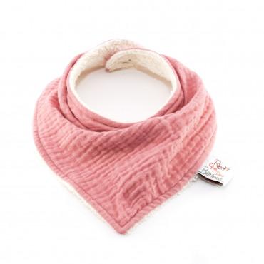 Bavoir bandana en gaze de coton - Rose