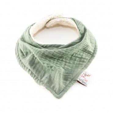 Bavoir bandana en gaze de coton - Vert