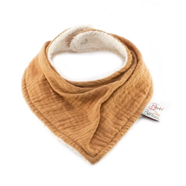 Bavoir bandana en gaze de coton - Moutarde
