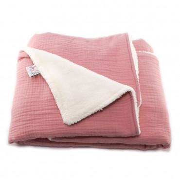 Couverture bébé en gaze de coton - Rose