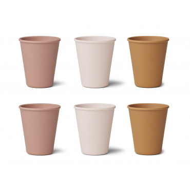 Lot de 6 verres en bambou Gertrud - Rose mix