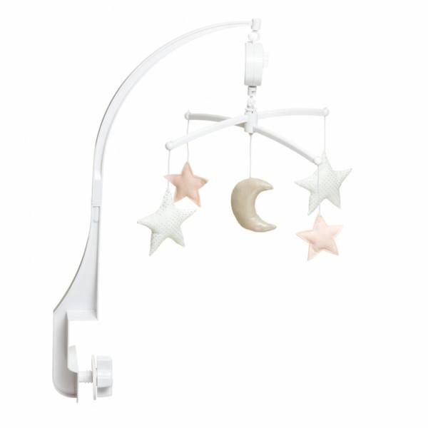 Mobile musical bébé - Lune et étoiles, Nude argenté