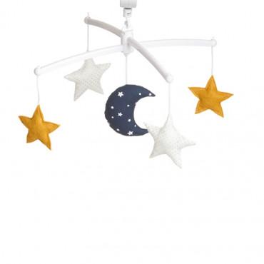 Mobile musical bébé - Lune et étoiles, Marine moutarde