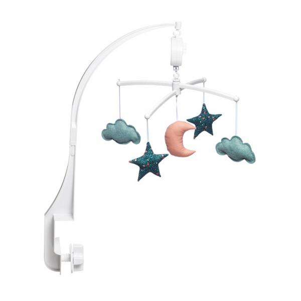 Mobile musical bébé - Lune et étoiles, Folk vert corail