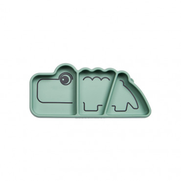 Assiette en silicone, ventouse et compartiment - Croco vert