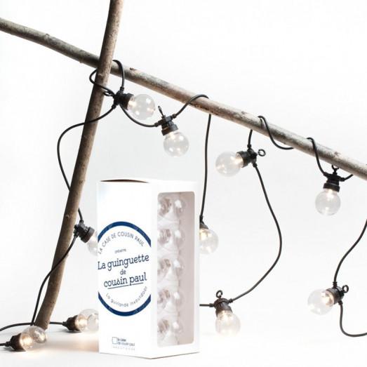Coffret guirlande LED en transparent pour extérieur - Noir