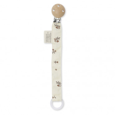 Attache tétine en coton bio - Petit amour rose