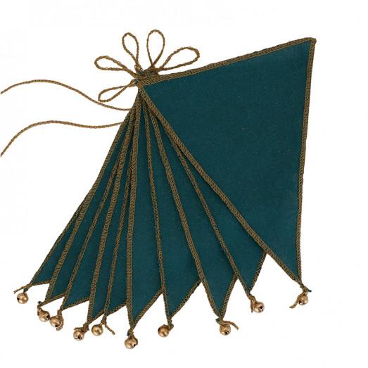 Guirlande fanions et grelots - Bleu canard