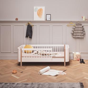 Lit junior Mini + Wood - Blanc et chêne