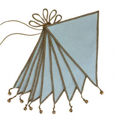 Guirlande fanions et grelots - Bleu ciel