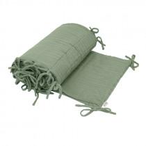 Tour de lit en lange de coton bio - Vert sauge