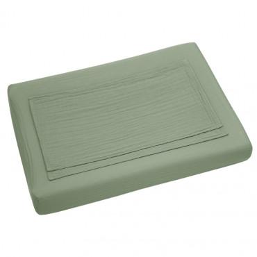 Drap housse de matelas à langer en coton bio - Vert sauge