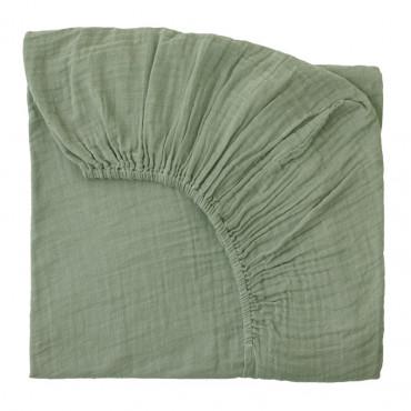 Drap housse bébé en gaze de coton - Vert sauge