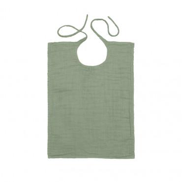 Bavoir rectangle en lange de coton - Vert sauge
