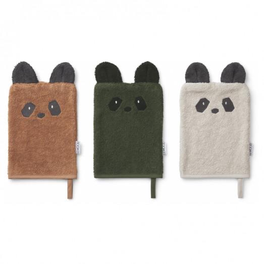 Lot de 3 gants de toilette Sylvester - Panda