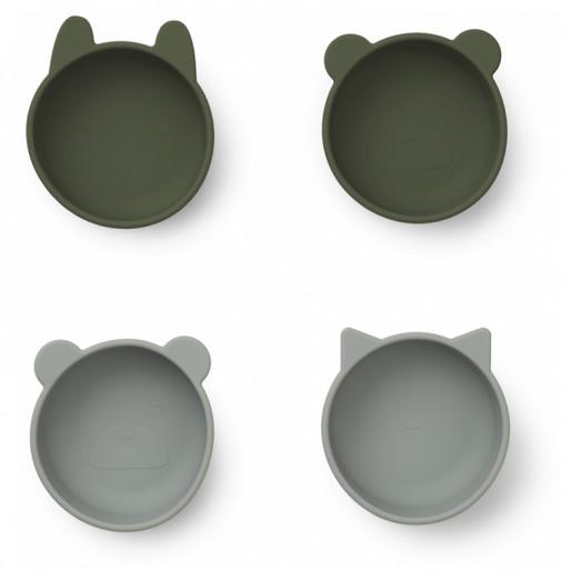 Bols en silicone x 4 Iggy - Hunter green mix