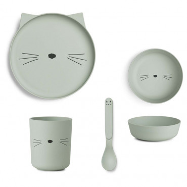 Set de repas en bambou Bamboo - Chat dusty mint