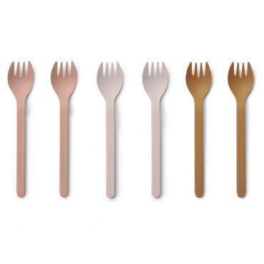 Lot de 6 fourchettes en bambou Naoto - Rose mix