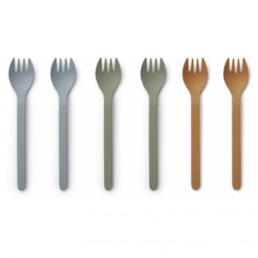 Lot de 6 fourchettes en bambou Naoto - Blue mix