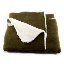 Couverture bébé en gaze de coton - Vert bronze
