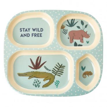 Assiette compartimentée mélamine - Jungle animals boy