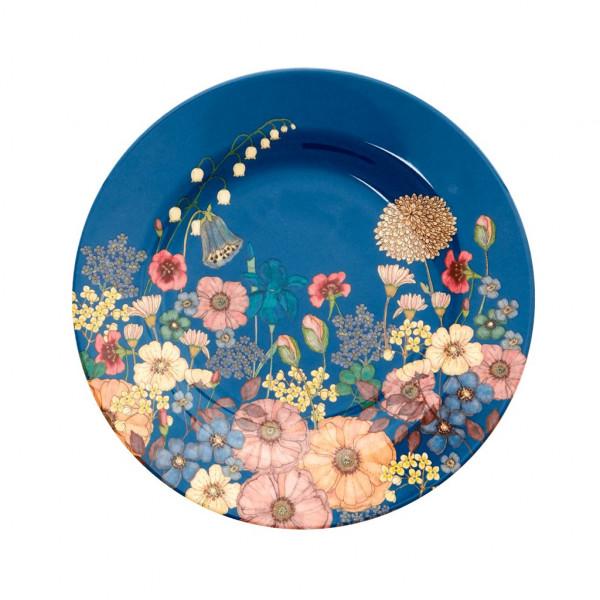 Petite assiette imprimée mélamine Flower collage - Bleu