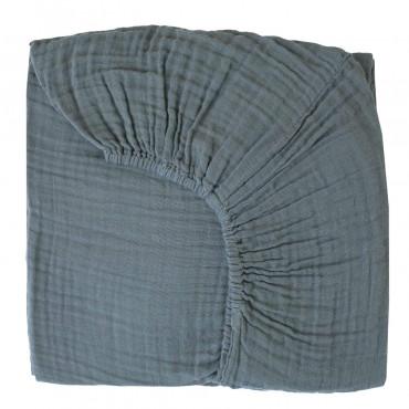 Drap housse bébé en gaze de coton - Bleu gris