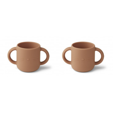 Lot de 2 tasses Gene - Chat tuscany rose
