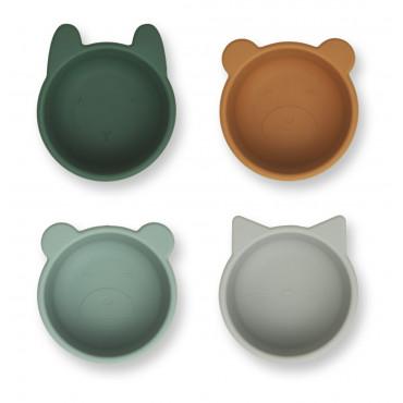 Mini bols en silicone x 4 Malene - Green multi mix