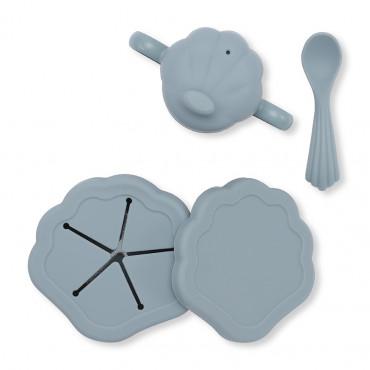 Set de repas silicone Clam - Light blue