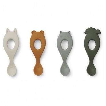 Cuillères en silicone x 4 Liva - Vert faune green