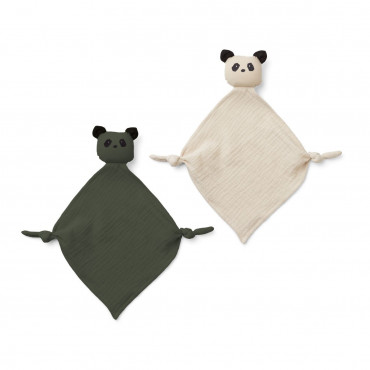 Lot de 2 mini doudous Yoko - Panda Hunter Green et Sandy Mix