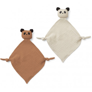 Lot de 2 mini doudous Yoko - Panda Tuscany Rose et Sandy Mix