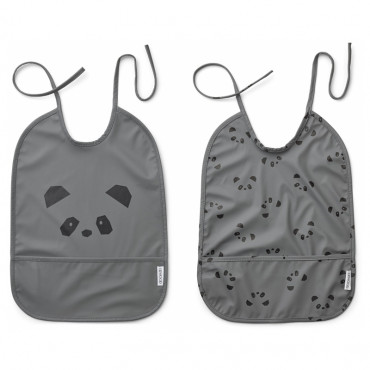 Lot de 2 bavoirs plastifiés Lai - Panda stone grey