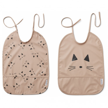 Lot de 2 bavoirs plastifiés Lai - Chat rose