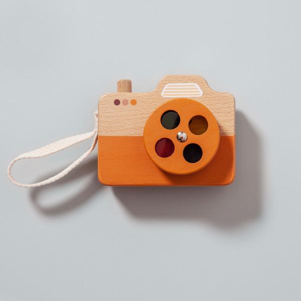 Appareil photo bois 4 couleurs orange