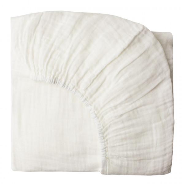 Drap housse bébé en gaze de coton - Blanc