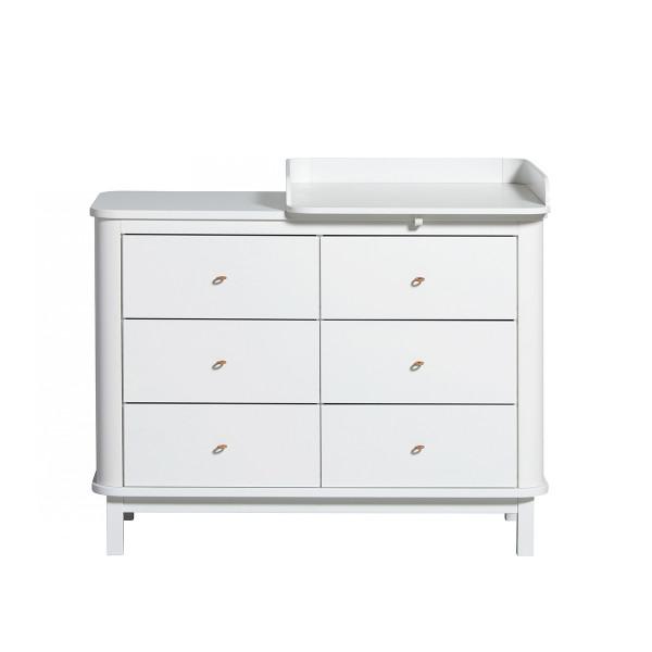 Commode 6 tiroirs avec petit plan à langer Wood, en Blanc