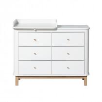 Commode 6 tiroirs Wood avec petit plan à langer - Blanc et chêne