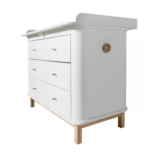 Commode 6 tiroirs avec grand plan à langer Wood - Blanc et Chêne