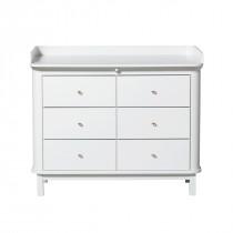 Commode Wood 6 tiroirs avec grand plan à langer - Blanc