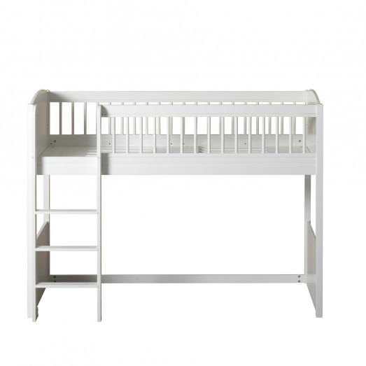 Lit mezzanine mi-hauteur Seaside Lille + en Blanc