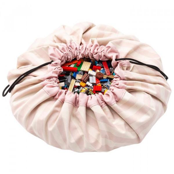 Tapis de jeu et sac de rangement - Rayures roses