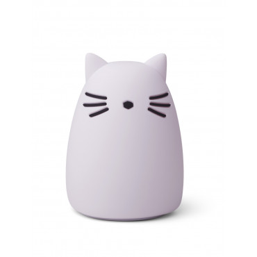 Lampe veilleuse rechargeable Winston - Chat lavende